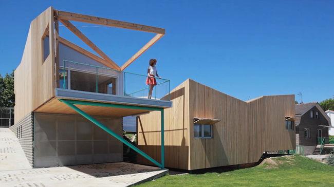 7 modulos de madera forman esta casa a 45km de madrid - Casas prefabricadas de madera espana ...